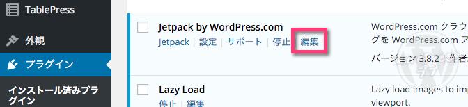 《プラグイン》→ Jetpack by WordPress.com の《編集》をクリック
